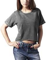 Urban Classics Women's Ladies Cropped Burnout Short Sleeve Crew Sweatshirt,XL