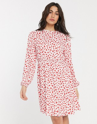 Vila high neck smock dress in heart print