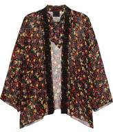 Anna Sui Floral-Print Silk-Crepon And Crocheted Lace Kimono