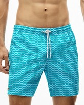 Lacoste Geo Print Medium-Length Swim Trunks