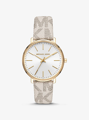 Michael Kors Pyper Logo and Gold-Tone Watch - Vanilla