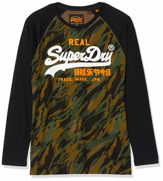 Superdry Men's Vintage Logo Camo Raglan Ls Tee Long Sleeve Top