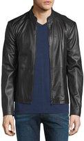 Armani Collezioni Cropped Leather Jacket, Black