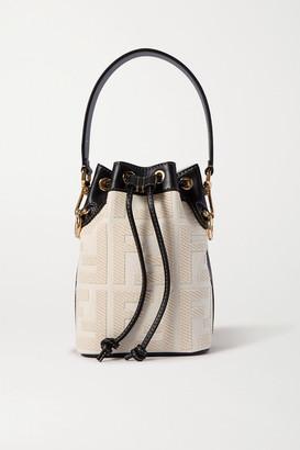 Fendi Mon Tresor Mini Leather-trimmed Canvas Bucket Bag - Beige