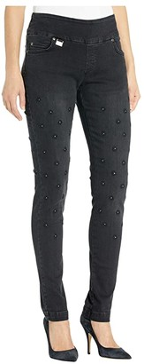 Lisette L Montreal Betty Slim Jeans w/ Flower Embroidery (Black) Women's Jeans