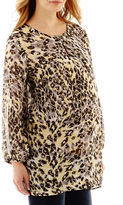 JCPenney Maternity 3/4-Sleeve Woven Print Keyhole Blouse