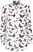 Equipment Slim-signature Butterfly-print Washed-silk Shirt