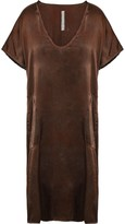 Raquel Allegra Frayed Printed Silk-satin Dress