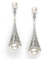 Eliot Danori Earrings, Simulated Pearl and Pave Crystal Cone Drop Earrings