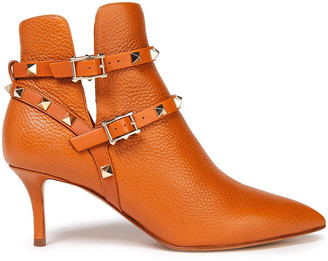 Valentino Rockstud Buckled Pebbled-leather Ankle Boots