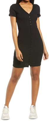 GUESS Raylynn Henley Rib Body-Con Dress