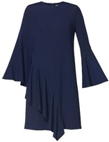 Paisie - Size 12 Navy Viscose and Polyester Asymmetric Side Frill Dress - 12 - Blue