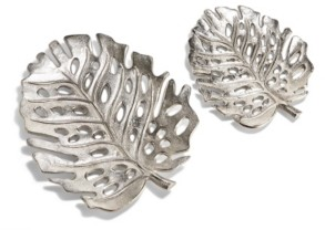 Twos Company Two's Company Silver Philodendron Decorative Leaf Trays - Set of 2