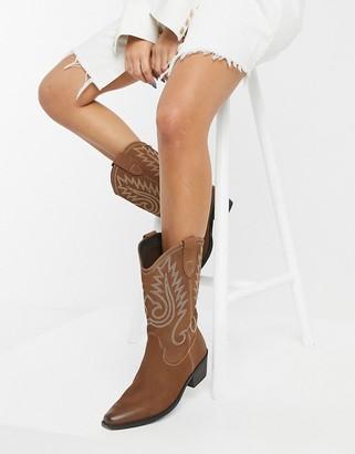 Steve Madden Oumny western calf boot in cognac