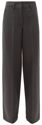 Lemaire High-rise Wide-leg Twill Trousers - Dark Grey