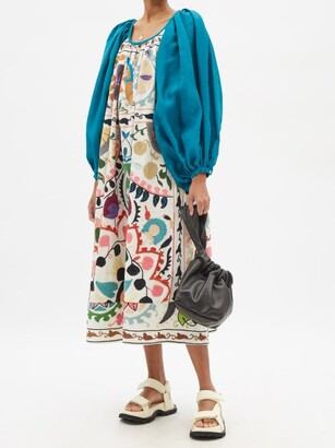 RIANNA + NINA Suzani-embroidered Cotton Midi Dress - Multi