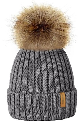 FUNOC Beanie Hat Faux Fur Pom Poms Warm Winter Hat Knit Hat for Baby Kids Girls Ladies Women Grey