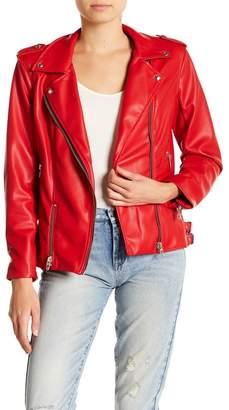 Blank NYC BLANKNYC Denim Oversized Faux Leather Biker Jacket