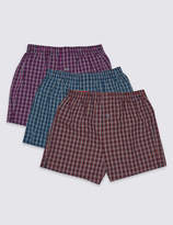 M&S CollectionMarks and Spencer 3 Pack Pure Cotton Checked Boxers