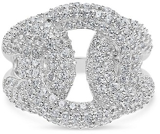 Sterling Forever Linked Knot Sterling Silver Crystal Ring