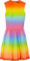 Rainbow-print cotton and silk-blend dress