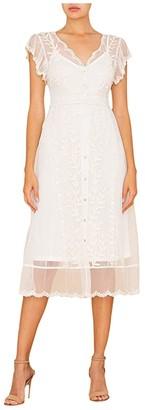Miss Me Lace Slip Dress (Ivory White) Women's Clothing