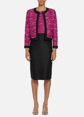 St. John Opulent Textured Tweed Sequined Jacket