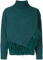 Le Ciel Bleu fringed knitted sweater