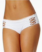 Becca Prairie Rose Crochet Lace-Up Hipster Bikini Bottoms