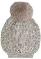 Moncler Fur-pompom wool beanie hat