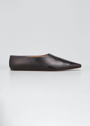 The Row Square-Toe Leather Ballerina Flats