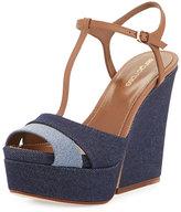 Sergio Rossi Edwige Denim T-Strap Wedge Sandal, Blue