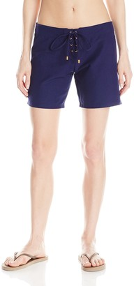 Helen Jon Women's Resort Essentials 7 Inch Lace-Up Boardshort - Blue - 10