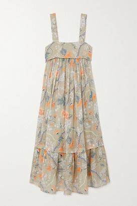 Chloé Ruffled Tiered Floral-print Ramie Midi Dress - Green