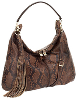 Brown Snake-Print Milano Double-Zip Leather Hobo