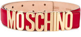 Moschino leather logo belt - women - Leather/Brass - 80