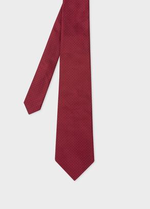 Paul Smith Men's Burgundy Pin Dot Motif Silk Tie