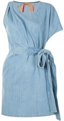No.21 Tie-Detail Asymmetric Sleeve Dress