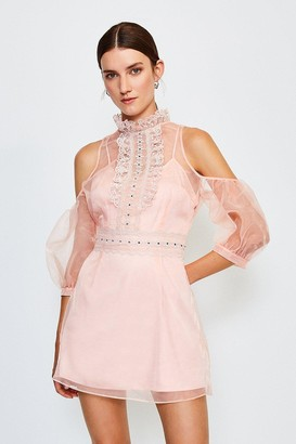 Karen Millen Organza Lace Cold Shoulder Dress