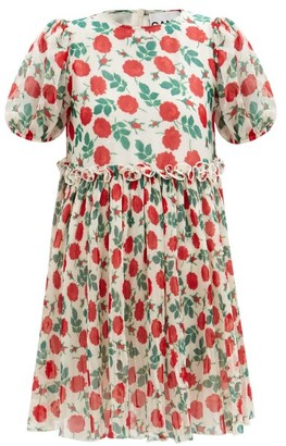 Ganni Rose-print Pleated-georgette Mini Dress - Cream Print