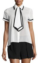 Alice + Olivia Oswald Tie- Neck Short-Sleeve Shirt, White/Black
