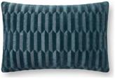 "Loloi P0863 Decorative Throw Pillow, 13""x21"", Teal, Down/Feather"
