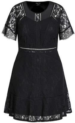 City Chic Lace Blossom Dress - black