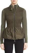 Moncler Women's Peplum Mixed Media Zip Front Cardigan