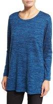 Caroline Rose Brushed Knit Long-Sleeve Tunic, Blue Lagoon, Petite