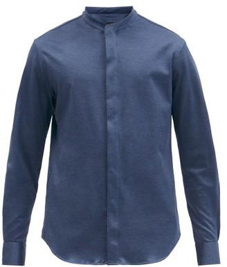 Giorgio Armani Grandad-collar Cotton-jersey Shirt - Navy