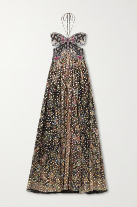 Etro Abiti Backless Printed Fil Coupe Silk-chiffon Halterneck Gown - Black