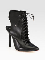Alice + Olivia Dominica Leather Lace-Up Ankle Boots