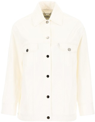 Fendi Sequin Logo Button-Up Jacket