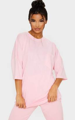 PrettyLittleThing Baby Pink Pocket Front Oversized T Shirt